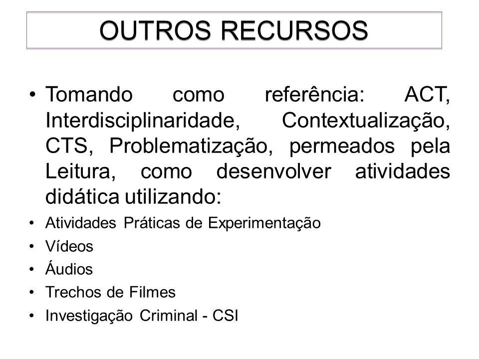 Tomando como referência: ACT, Interdisciplinaridade, Contextualização, CTS, Problematização, permeados pela Leitura, como desenvolver atividades didát