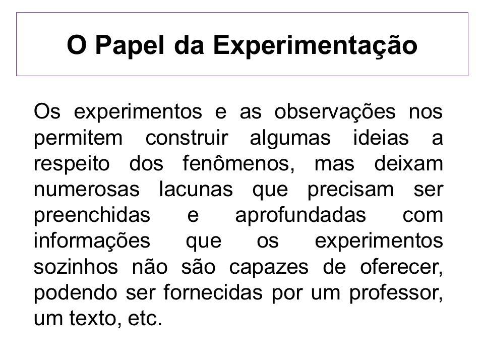 O Papel da Experimentação Os experimentos e as observações nos permitem construir algumas ideias a respeito dos fenômenos, mas deixam numerosas lacuna