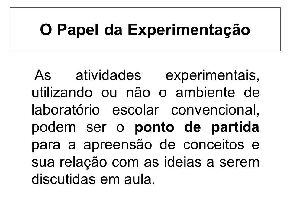 O Papel da Experimentação As atividades experimentais, utilizando ou não o ambiente de laboratório escolar convencional, podem ser o ponto de partida