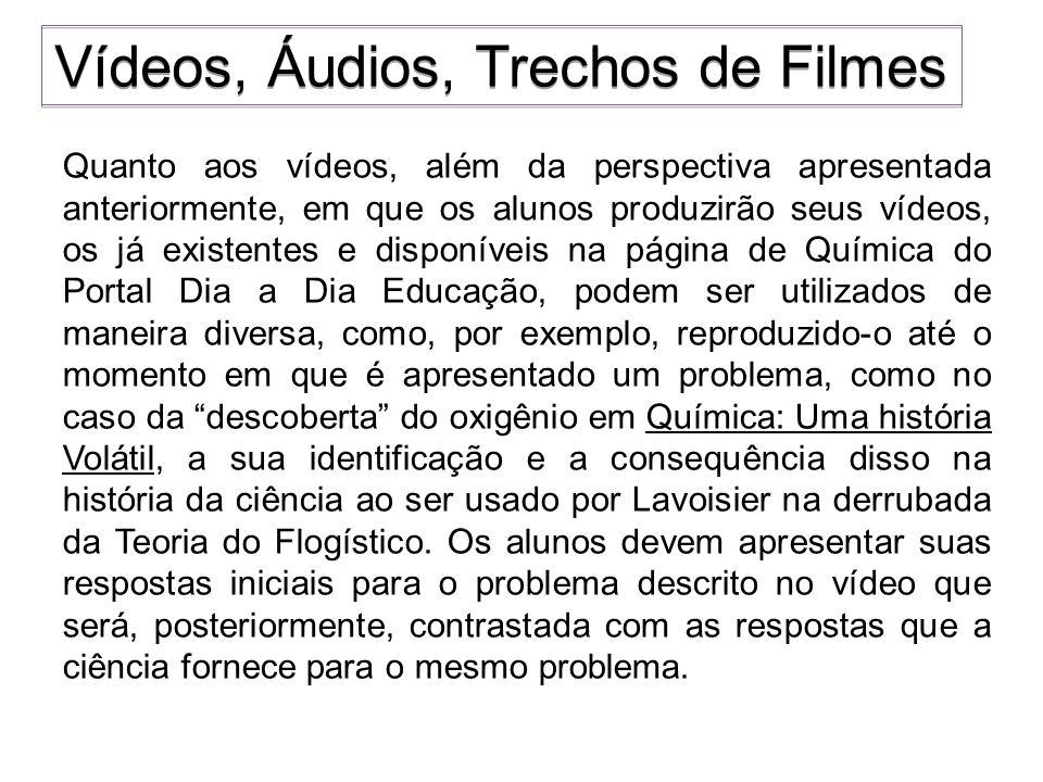Quanto aos vídeos, além da perspectiva apresentada anteriormente, em que os alunos produzirão seus vídeos, os já existentes e disponíveis na página de
