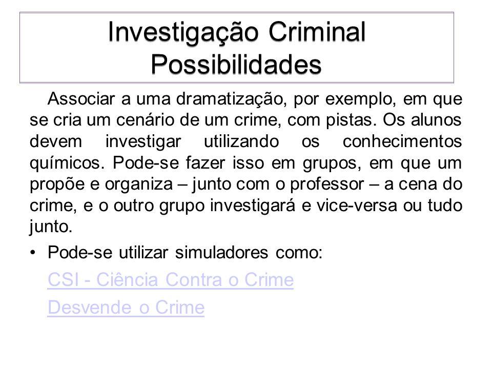 Associar a uma dramatização, por exemplo, em que se cria um cenário de um crime, com pistas. Os alunos devem investigar utilizando os conhecimentos qu