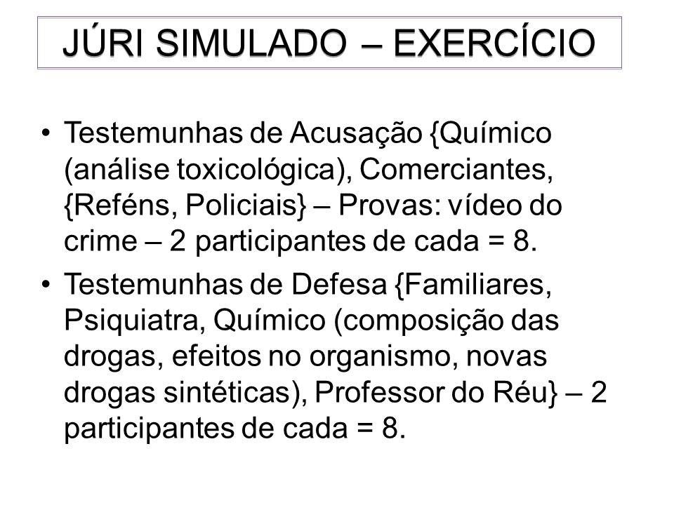 Testemunhas de Acusação {Químico (análise toxicológica), Comerciantes, {Reféns, Policiais} – Provas: vídeo do crime – 2 participantes de cada = 8. Tes