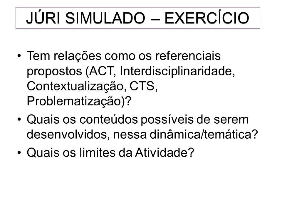 Tem relações como os referenciais propostos (ACT, Interdisciplinaridade, Contextualização, CTS, Problematização)? Quais os conteúdos possíveis de sere
