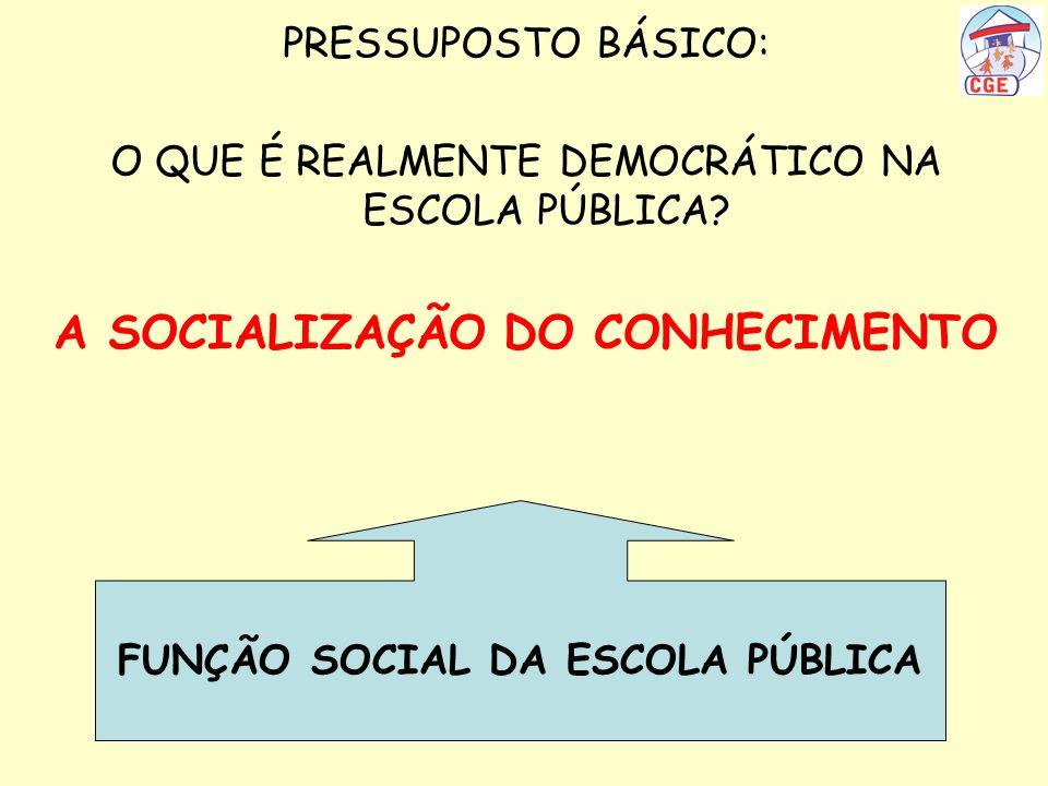 PRESSUPOSTO BÁSICO: O QUE É REALMENTE DEMOCRÁTICO NA ESCOLA PÚBLICA? A SOCIALIZAÇÃO DO CONHECIMENTO FUNÇÃO SOCIAL DA ESCOLA PÚBLICA