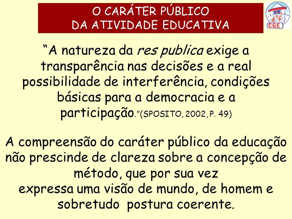 A natureza da res publica exige a transparência nas decisões e a real possibilidade de interferência, condições básicas para a democracia e a particip