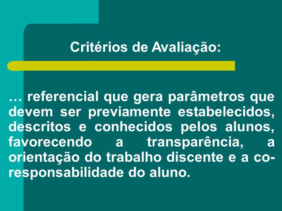 Critérios de Avaliação: … referencial que gera parâmetros que devem ser previamente estabelecidos, descritos e conhecidos pelos alunos, favorecendo a