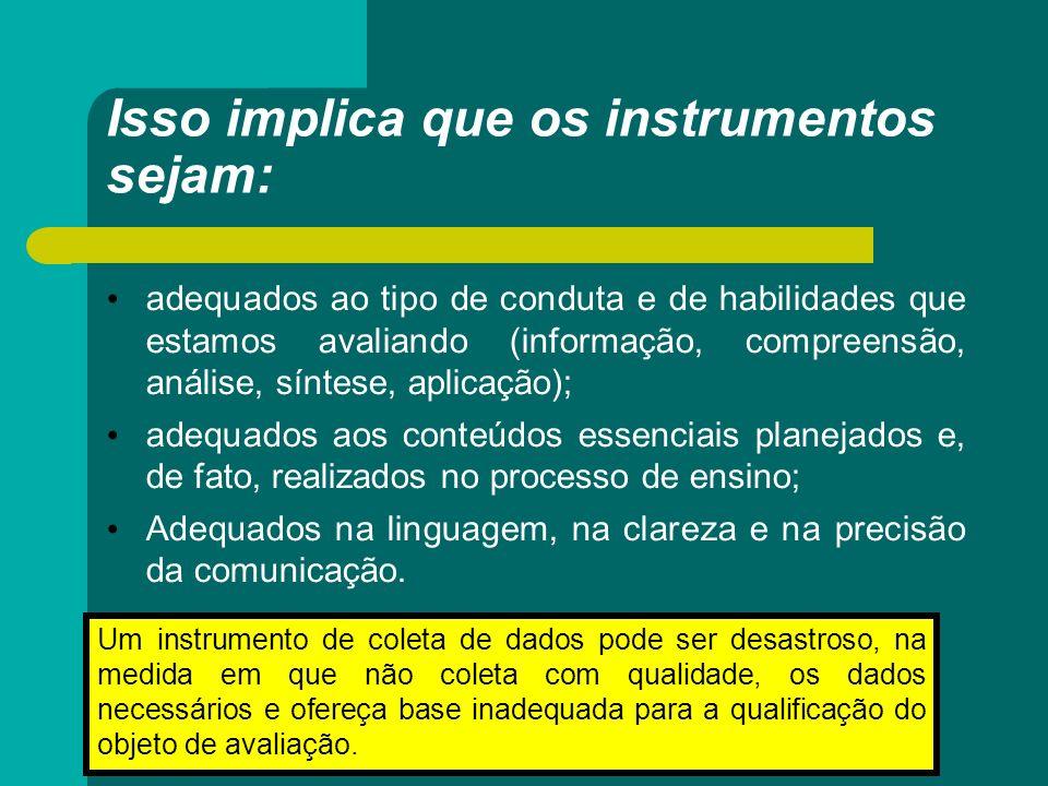Isso implica que os instrumentos sejam: adequados ao tipo de conduta e de habilidades que estamos avaliando (informação, compreensão, análise, síntese