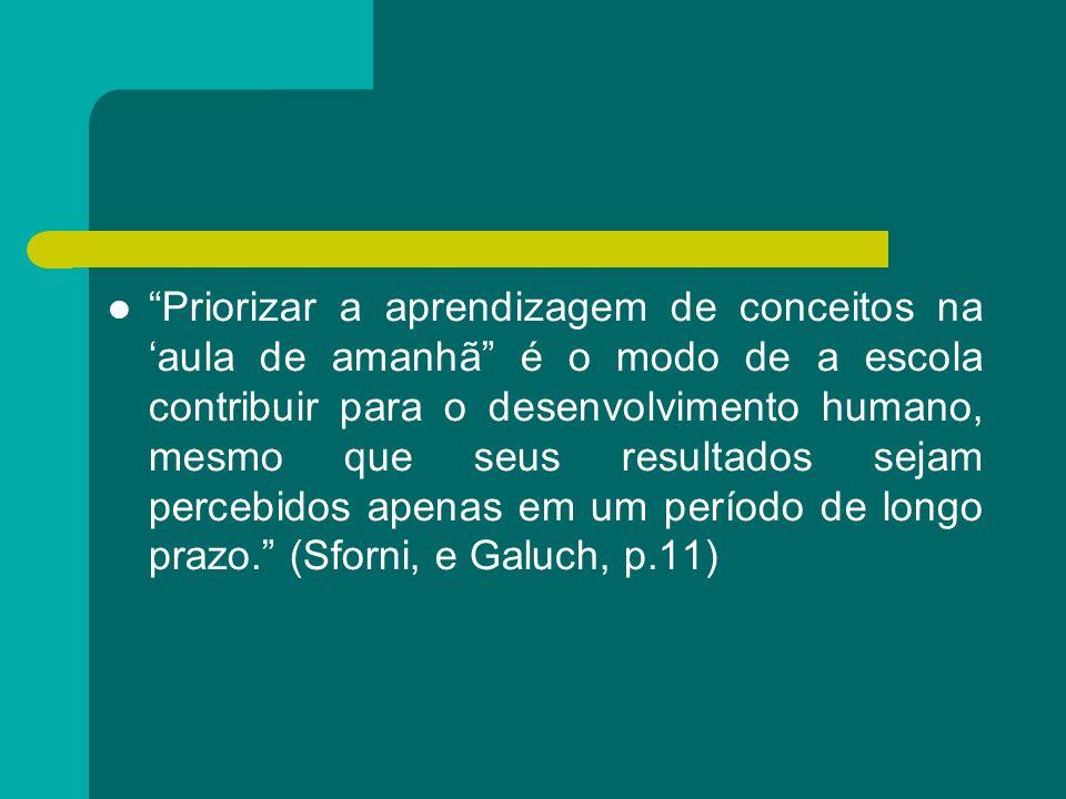 Priorizar a aprendizagem de conceitos na aula de amanhã é o modo de a escola contribuir para o desenvolvimento humano, mesmo que seus resultados sejam