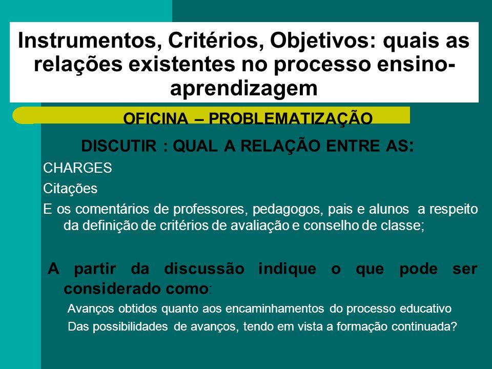 Instrumentos, Critérios, Objetivos: quais as relações existentes no processo ensino- aprendizagem OFICINA – PROBLEMATIZAÇÃO DISCUTIR : QUAL A RELAÇÃO