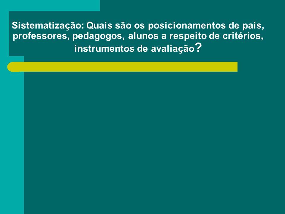 Sistematização: Quais são os posicionamentos de pais, professores, pedagogos, alunos a respeito de critérios, instrumentos de avaliação ?