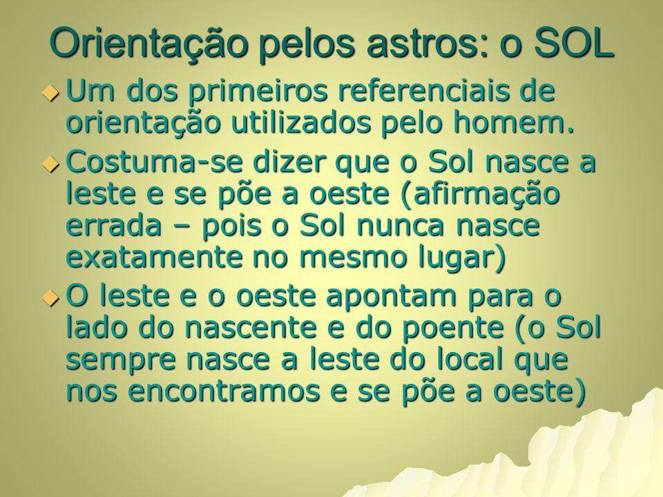 Orientação pelos astros: o SOL Um dos primeiros referenciais de orientação utilizados pelo homem.