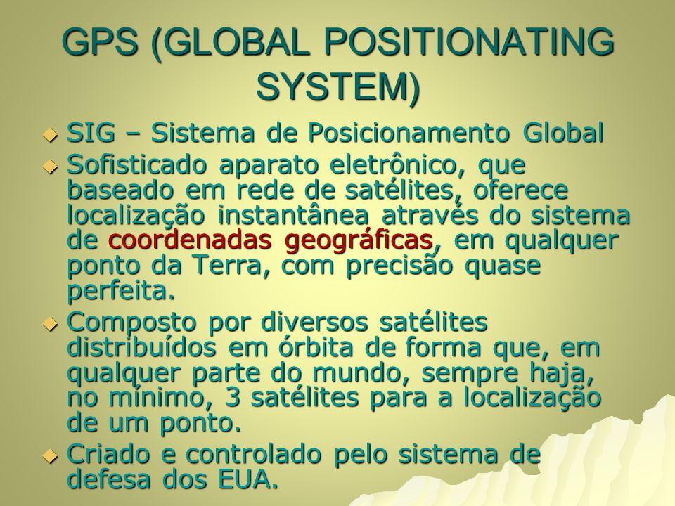 GPS (GLOBAL POSITIONATING SYSTEM) SIG – Sistema de Posicionamento Global SIG – Sistema de Posicionamento Global Sofisticado aparato eletrônico, que baseado em rede de satélites, oferece localização instantânea através do sistema de coordenadas geográficas, em qualquer ponto da Terra, com precisão quase perfeita.