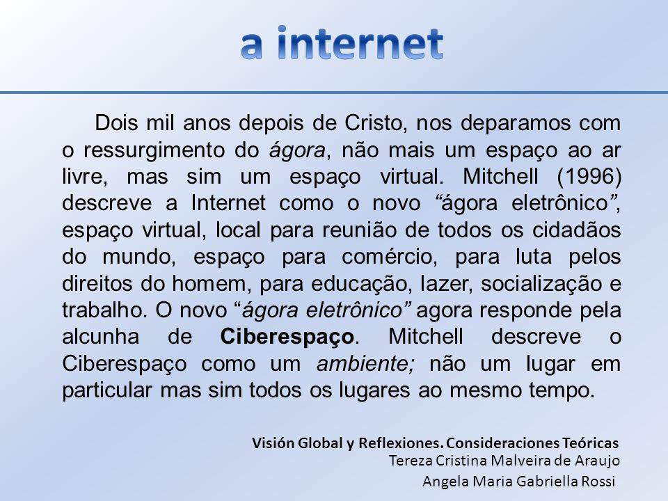 Dois mil anos depois de Cristo, nos deparamos com o ressurgimento do ágora, não mais um espaço ao ar livre, mas sim um espaço virtual. Mitchell (1996)