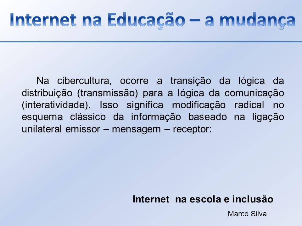 Na cibercultura, ocorre a transição da lógica da distribuição (transmissão) para a lógica da comunicação (interatividade). Isso significa modificação