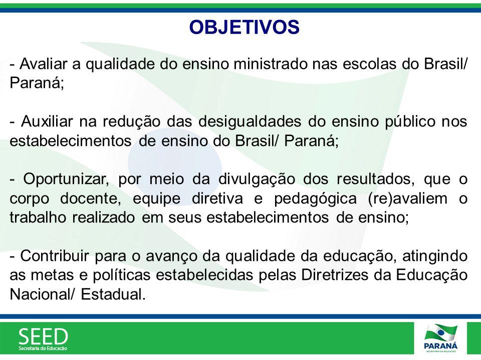 OBJETIVOS - Avaliar a qualidade do ensino ministrado nas escolas do Brasil/ Paraná; - Auxiliar na redução das desigualdades do ensino público nos esta