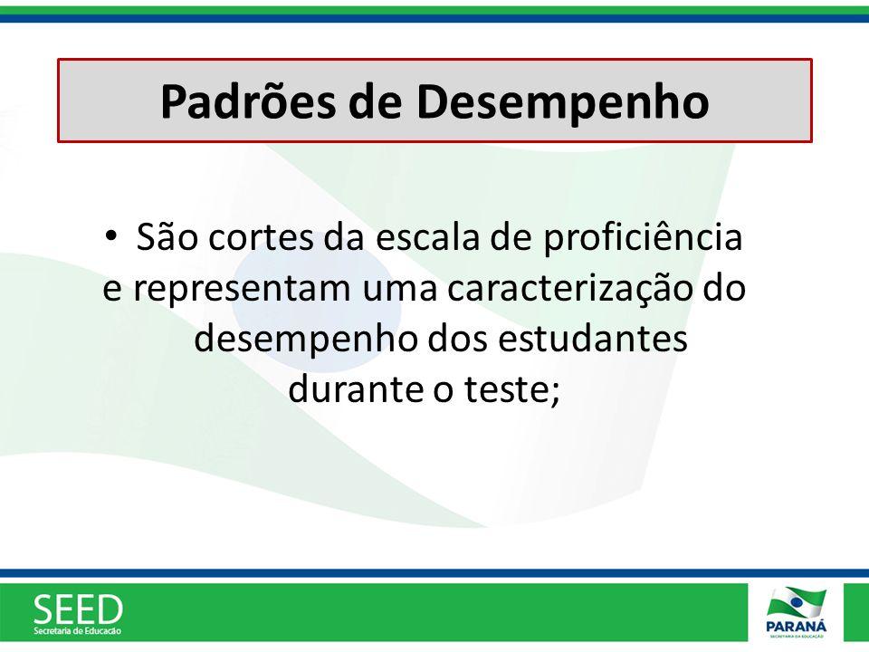 Padrões de Desempenho São cortes da escala de proficiência e representam uma caracterização do desempenho dos estudantes durante o teste;