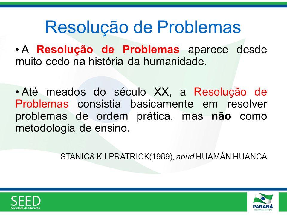 Resolução de Problemas A Resolução de Problemas aparece desde muito cedo na história da humanidade. Até meados do século XX, a Resolução de Problemas