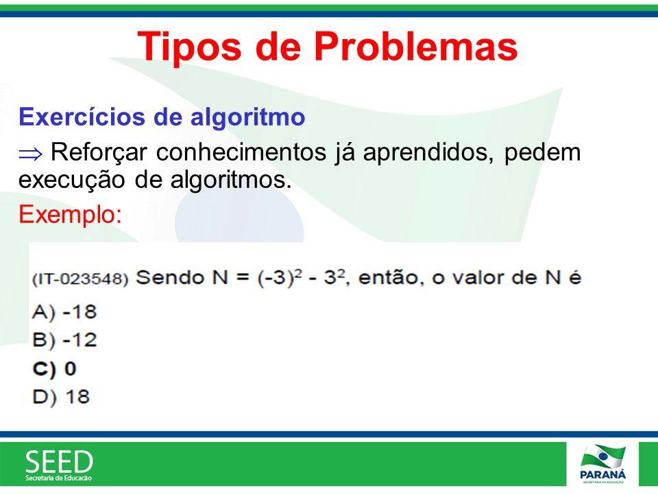 Tipos de Problemas Exercícios de algoritmo Reforçar conhecimentos já aprendidos, pedem execução de algoritmos. Exemplo: