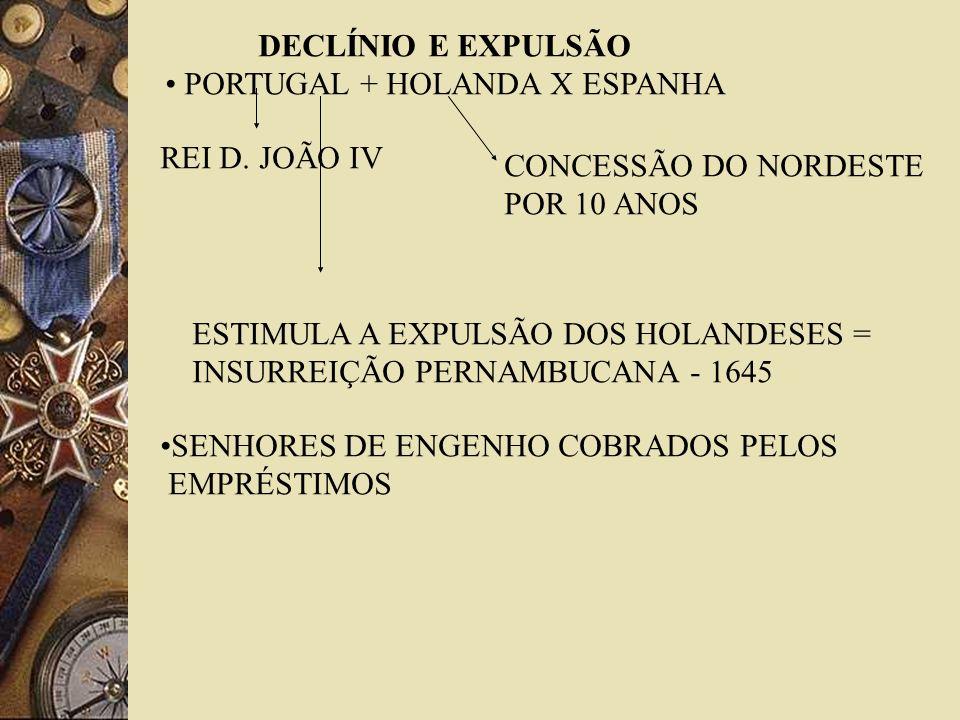 DECLÍNIO E EXPULSÃO PORTUGAL + HOLANDA X ESPANHA CONCESSÃO DO NORDESTE POR 10 ANOS REI D. JOÃO IV ESTIMULA A EXPULSÃO DOS HOLANDESES = INSURREIÇÃO PER