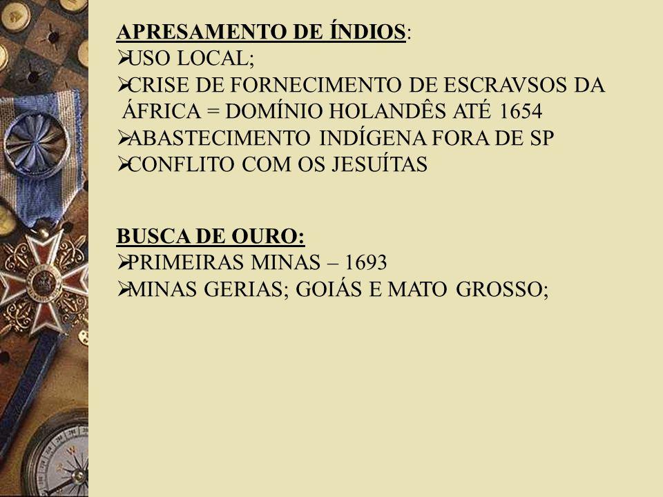 APRESAMENTO DE ÍNDIOS: USO LOCAL; CRISE DE FORNECIMENTO DE ESCRAVSOS DA ÁFRICA = DOMÍNIO HOLANDÊS ATÉ 1654 ABASTECIMENTO INDÍGENA FORA DE SP CONFLITO