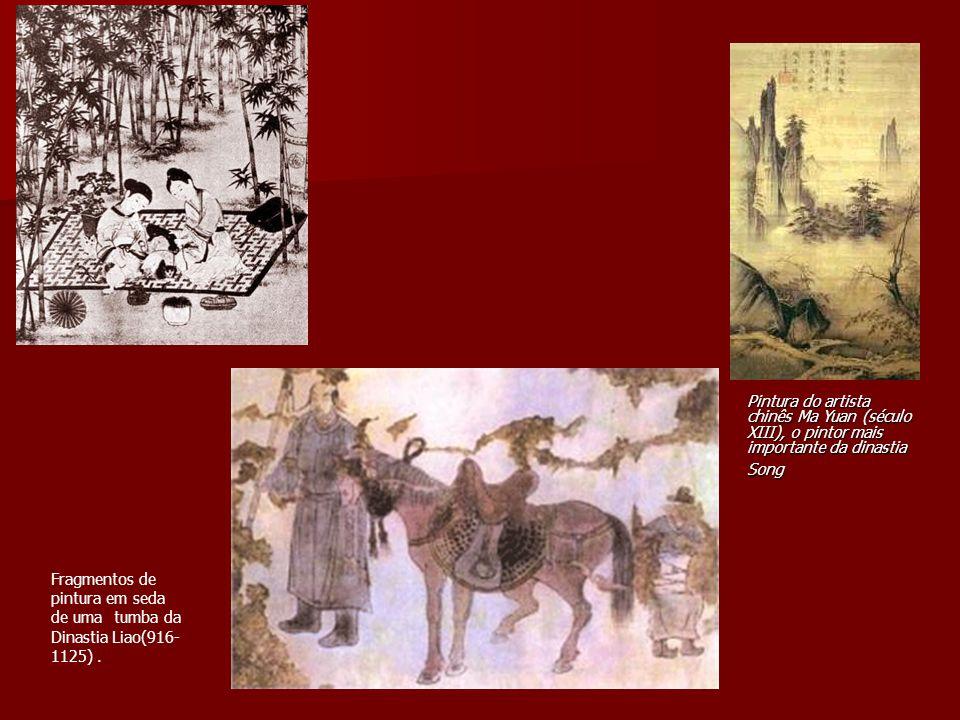 Pintura do artista chinês Ma Yuan (século XIII), o pintor mais importante da dinastia Song Fragmentos de pintura em seda de uma tumba da Dinastia Liao