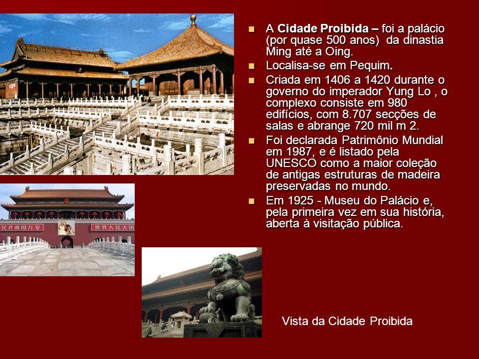 Vista da Cidade Proibida A Cidade Proibida – foi a palácio (por quase 500 anos) da dinastia Ming até a Oing. A Cidade Proibida – foi a palácio (por qu