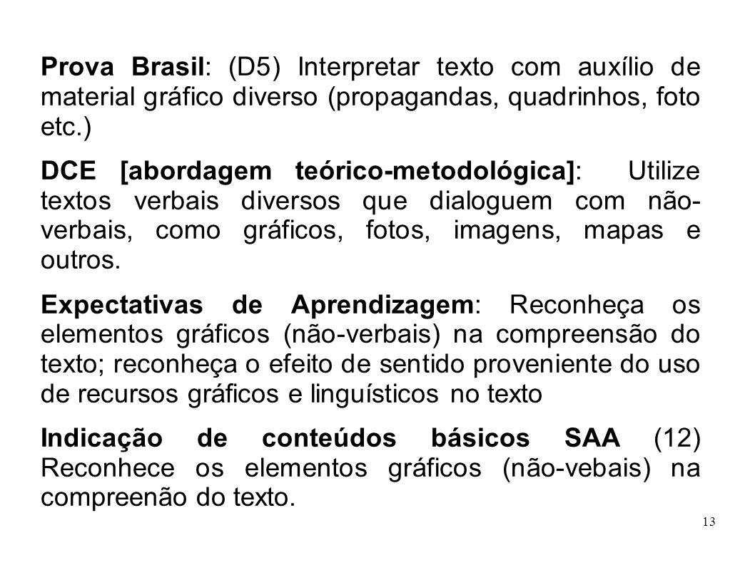 13 Prova Brasil: (D5) Interpretar texto com auxílio de material gráfico diverso (propagandas, quadrinhos, foto etc.) DCE [abordagem teórico-metodológi