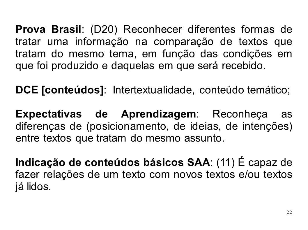 22 Prova Brasil: (D20) Reconhecer diferentes formas de tratar uma informação na comparação de textos que tratam do mesmo tema, em função das condições