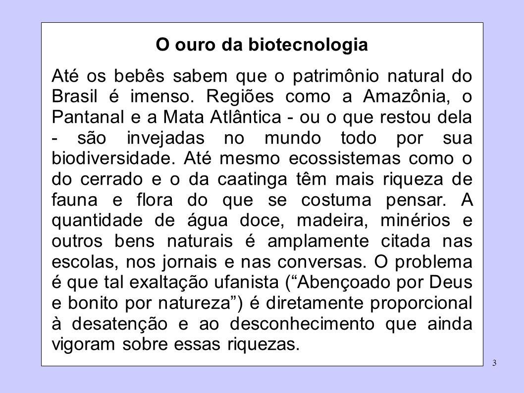 3 O ouro da biotecnologia Até os bebês sabem que o patrimônio natural do Brasil é imenso. Regiões como a Amazônia, o Pantanal e a Mata Atlântica - ou
