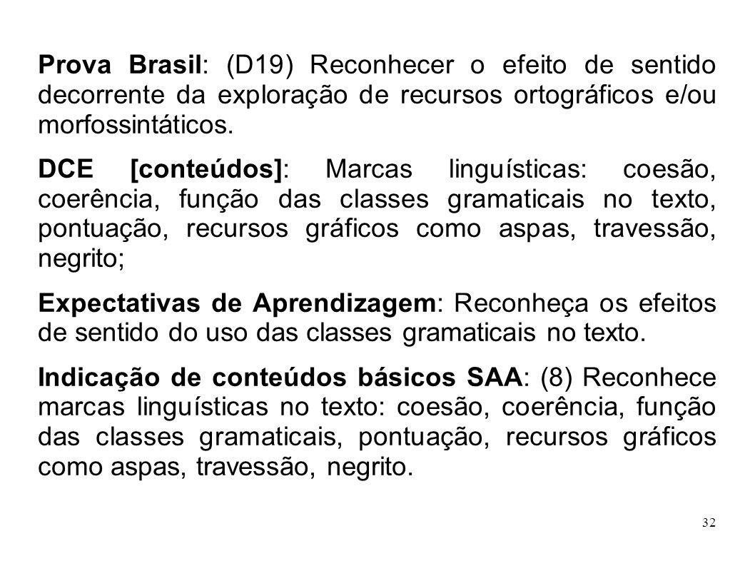 32 Prova Brasil: (D19) Reconhecer o efeito de sentido decorrente da exploração de recursos ortográficos e/ou morfossintáticos. DCE [conteúdos]: Marcas