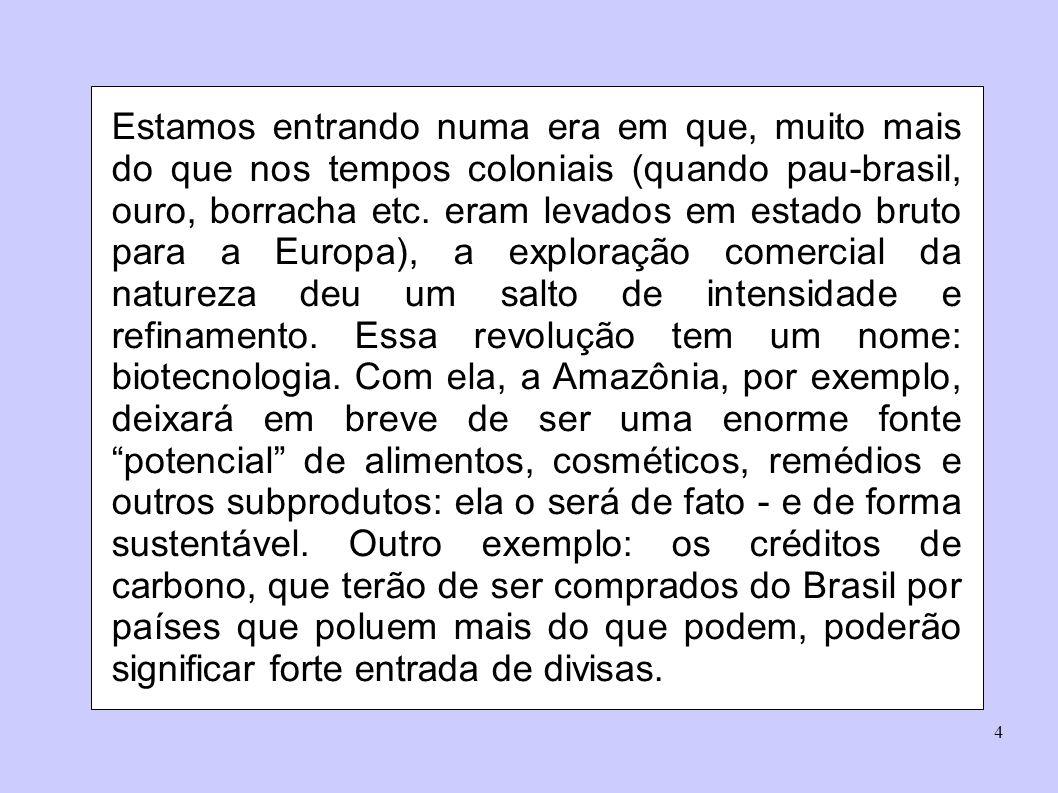 5 Com sua pesquisa científica carente, idefinição quanto à legislação e dificuldades nas questões de patenteamento, o Brasil não consegue transformar essa riqueza natural em riqueza financeira.