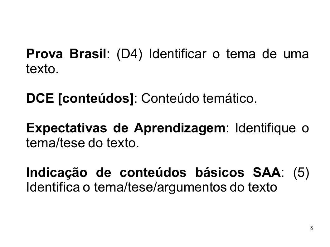 8 Prova Brasil: (D4) Identificar o tema de uma texto. DCE [conteúdos]: Conteúdo temático. Expectativas de Aprendizagem: Identifique o tema/tese do tex