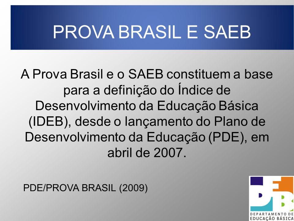 A Prova Brasil e o SAEB constituem a base para a definição do Índice de Desenvolvimento da Educação Básica (IDEB), desde o lançamento do Plano de Dese