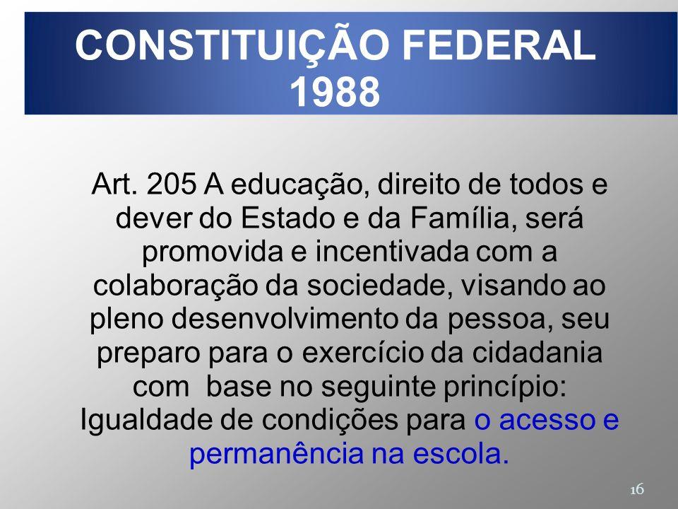 16 Art. 205 A educação, direito de todos e dever do Estado e da Família, será promovida e incentivada com a colaboração da sociedade, visando ao pleno