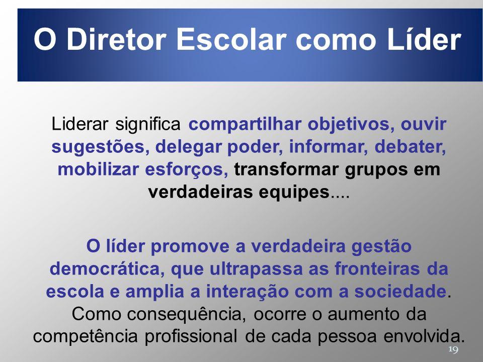 19 Liderar significa compartilhar objetivos, ouvir sugestões, delegar poder, informar, debater, mobilizar esforços, transformar grupos em verdadeiras
