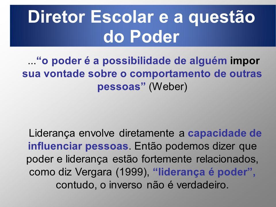 ...o poder é a possibilidade de alguém impor sua vontade sobre o comportamento de outras pessoas (Weber) Liderança envolve diretamente a capacidade de