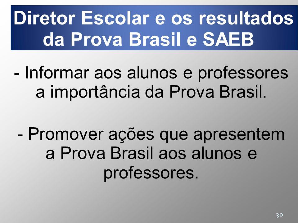 30 - Informar aos alunos e professores a importância da Prova Brasil. - Promover ações que apresentem a Prova Brasil aos alunos e professores. Diretor