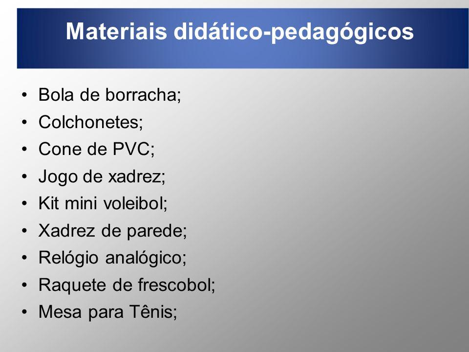 Materiais didático-pedagógicos Bola de borracha; Colchonetes; Cone de PVC; Jogo de xadrez; Kit mini voleibol; Xadrez de parede; Relógio analógico; Raq