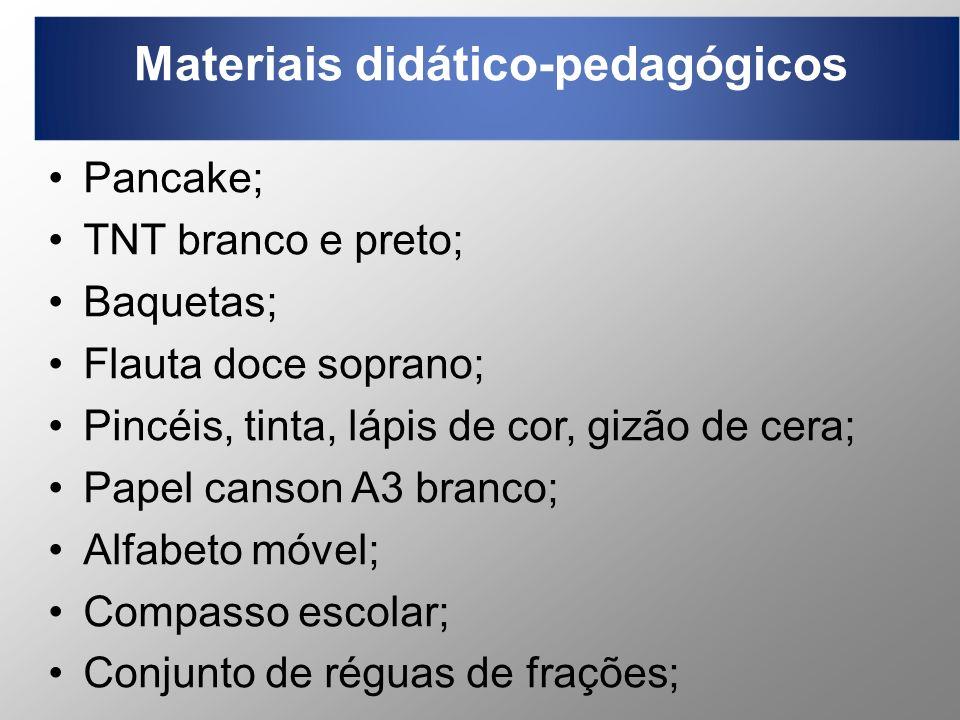 Materiais didático-pedagógicos Pancake; TNT branco e preto; Baquetas; Flauta doce soprano; Pincéis, tinta, lápis de cor, gizão de cera; Papel canson A