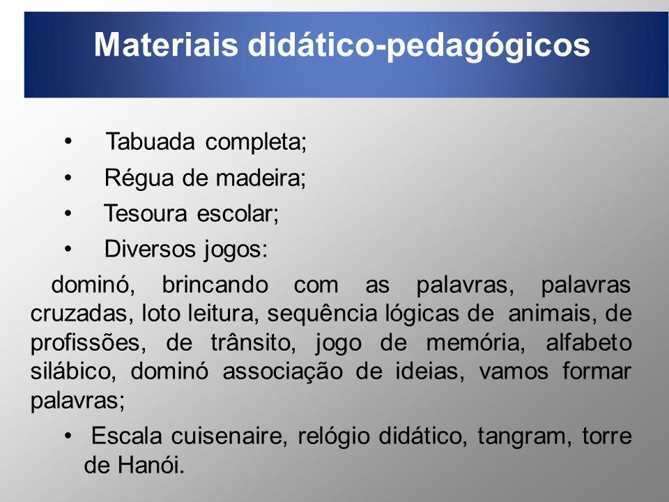 Materiais didático-pedagógicos Tabuada completa; Régua de madeira; Tesoura escolar; Diversos jogos: dominó, brincando com as palavras, palavras cruzad