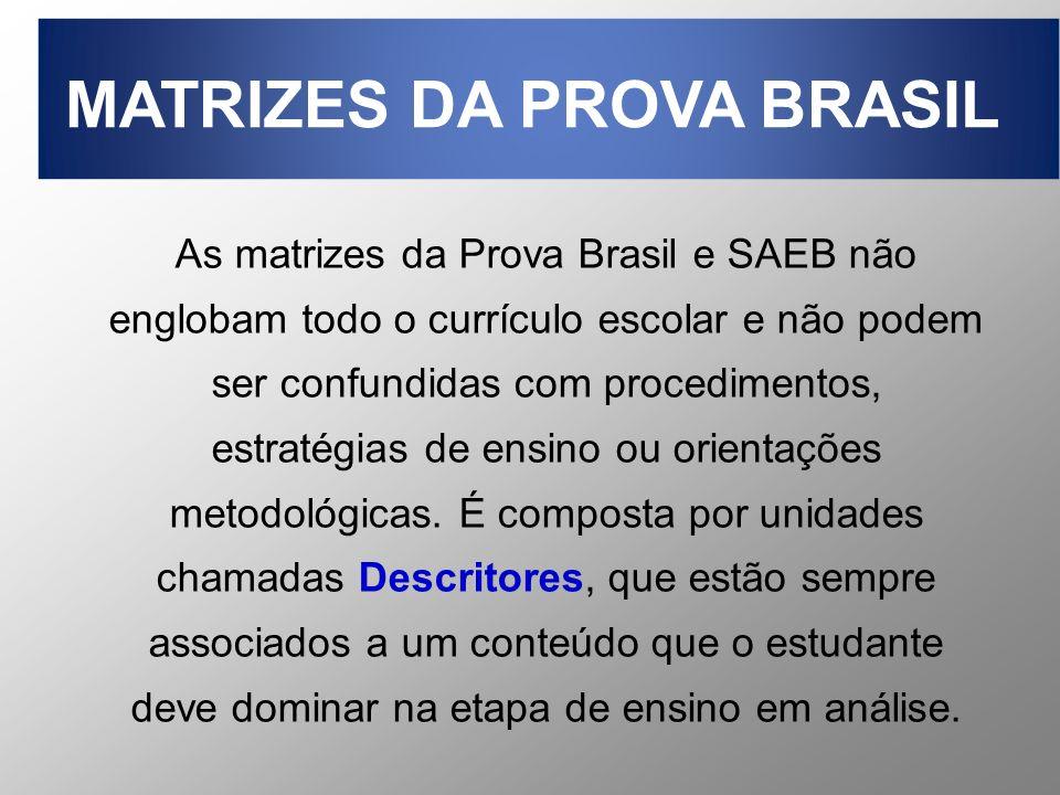 As matrizes da Prova Brasil e SAEB não englobam todo o currículo escolar e não podem ser confundidas com procedimentos, estratégias de ensino ou orien