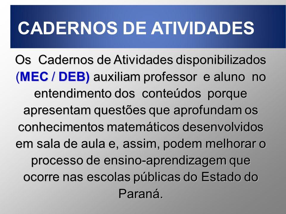 Os Cadernos de Atividades disponibilizados (MEC / DEB) auxiliam professor e aluno no entendimento dos conteúdos porque apresentam questões que aprofun