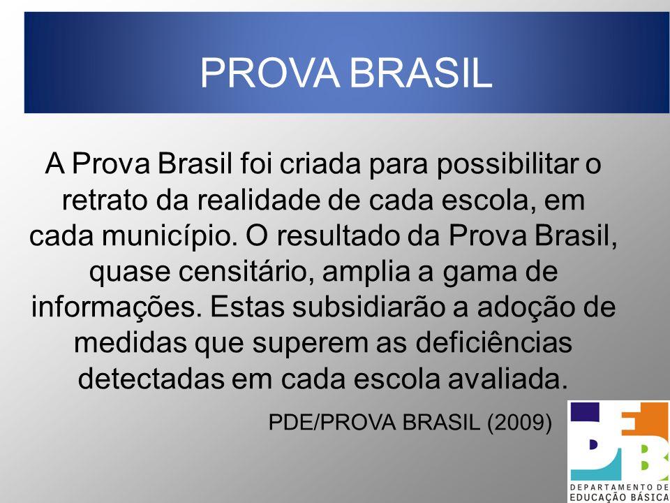 A Prova Brasil foi criada para possibilitar o retrato da realidade de cada escola, em cada município. O resultado da Prova Brasil, quase censitário, a