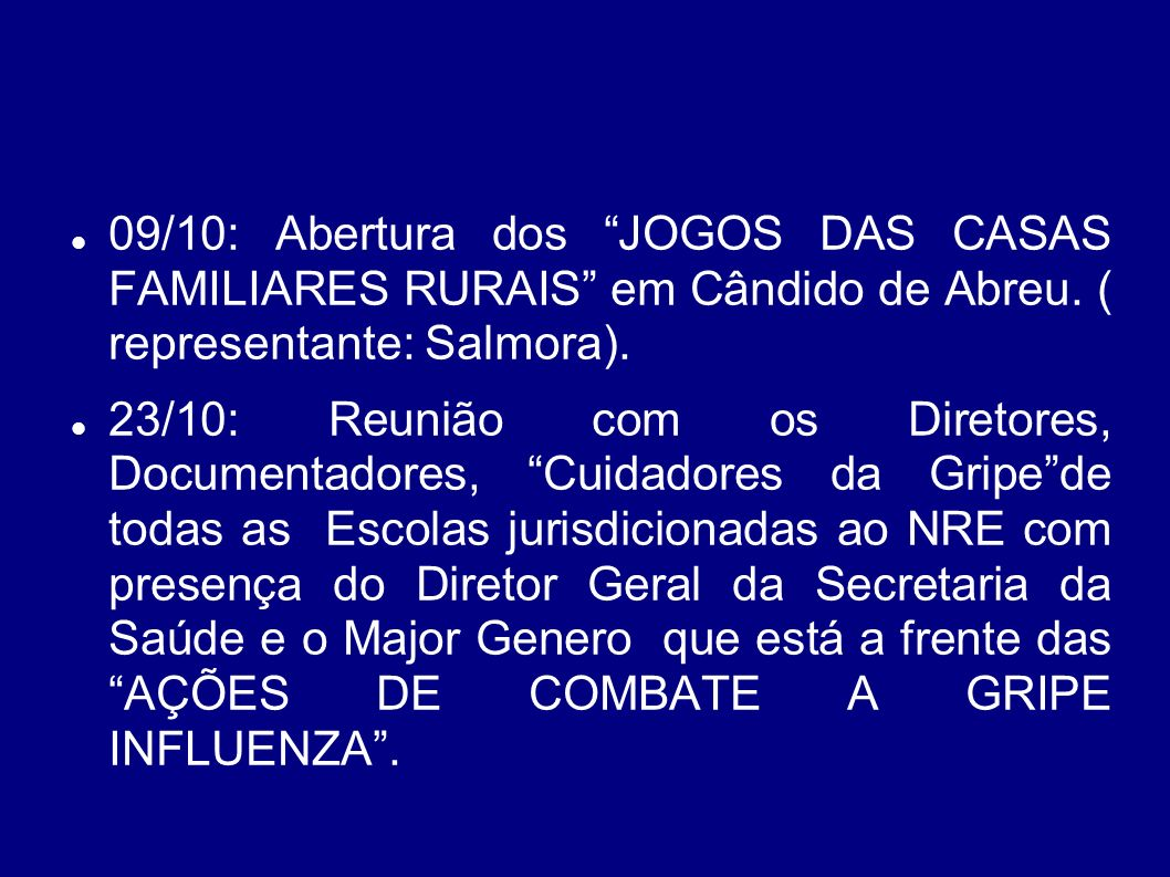 RELATÓRIO : N.R.E - OUTUBRO/2009 SETOR DA CHEFIA 01/10: Abertura da Reunião Técnica do PROGRAMA LEITE DAS CRIANÇAS(representante: Assistente Técnica).