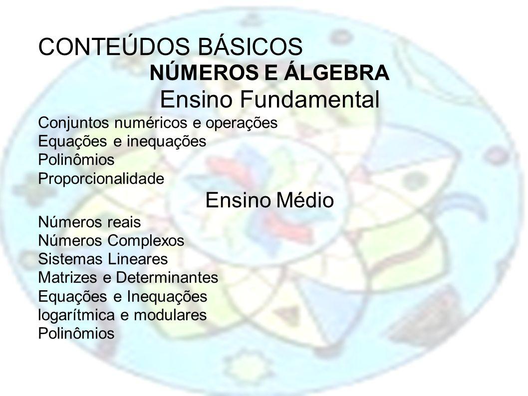 CONTEÚDOS BÁSICOS NÚMEROS E ÁLGEBRA Ensino Fundamental Conjuntos numéricos e operações Equações e inequações Polinômios Proporcionalidade Ensino Médio