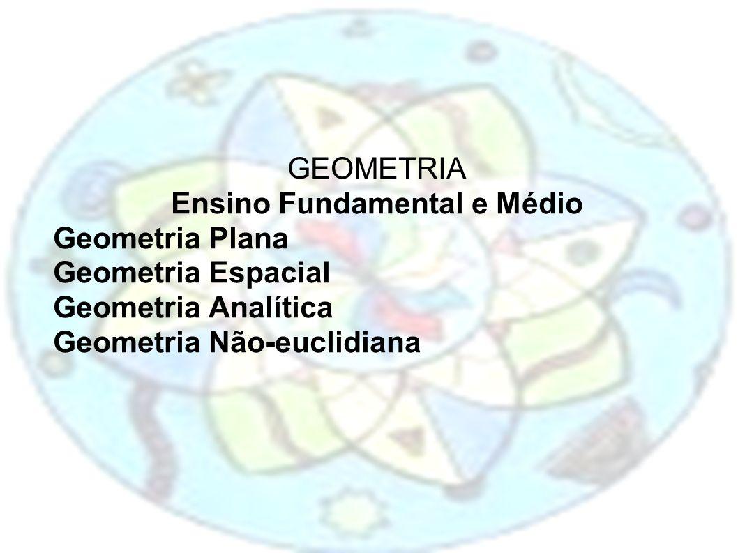 GEOMETRIA Ensino Fundamental e Médio Geometria Plana Geometria Espacial Geometria Analítica Geometria Não-euclidiana