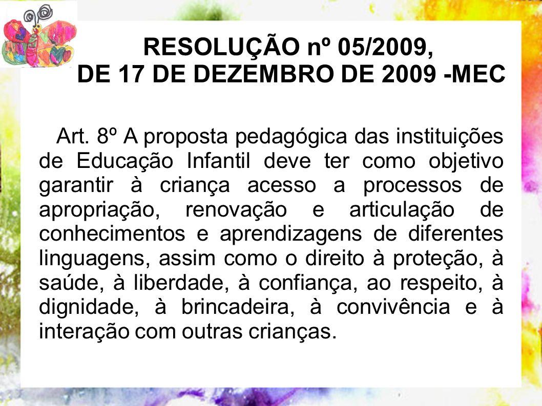 RESOLUÇÃO nº 05/2009, DE 17 DE DEZEMBRO DE 2009 -MEC Art. 8º A proposta pedagógica das instituições de Educação Infantil deve ter como objetivo garant