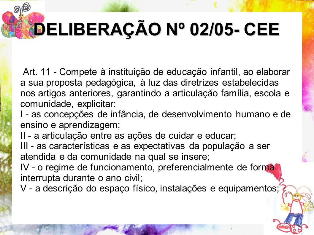 Art. 11 - Compete à instituição de educação infantil, ao elaborar a sua proposta pedagógica, à luz das diretrizes estabelecidas nos artigos anteriores