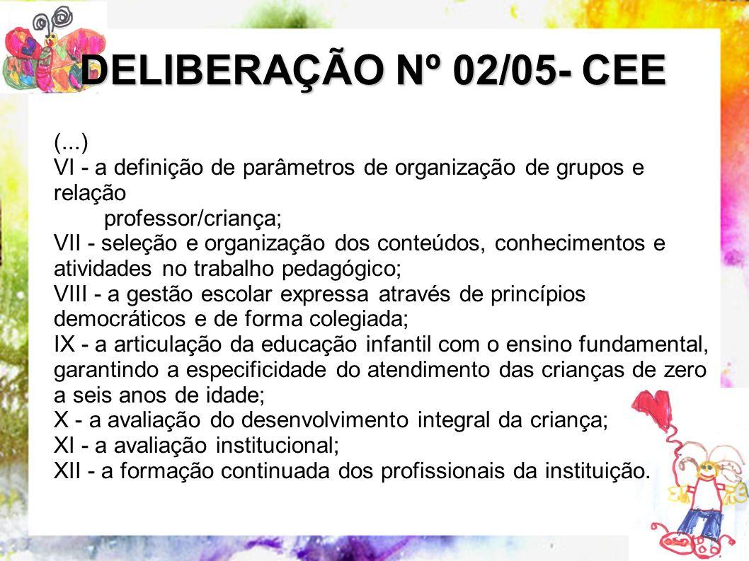 (...) VI - a definição de parâmetros de organização de grupos e relação professor/criança; VII - seleção e organização dos conteúdos, conhecimentos e