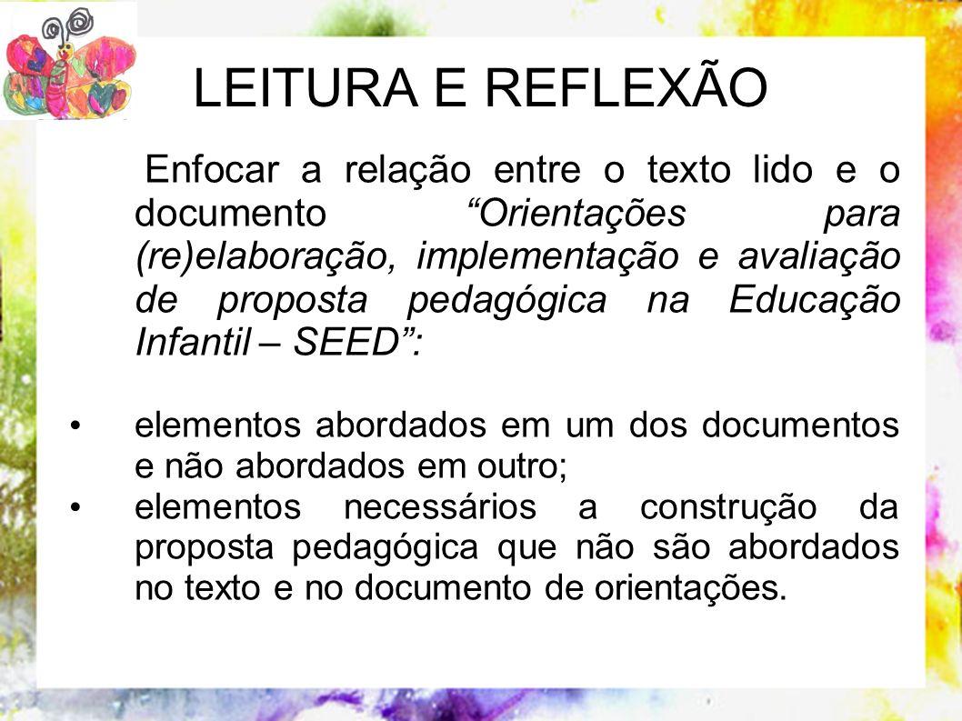 Enfocar a relação entre o texto lido e o documento Orientações para (re)elaboração, implementação e avaliação de proposta pedagógica na Educação Infan
